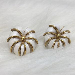 Vintage Jewelry - Vintage White & Gold Enamel Clip-On Earrings